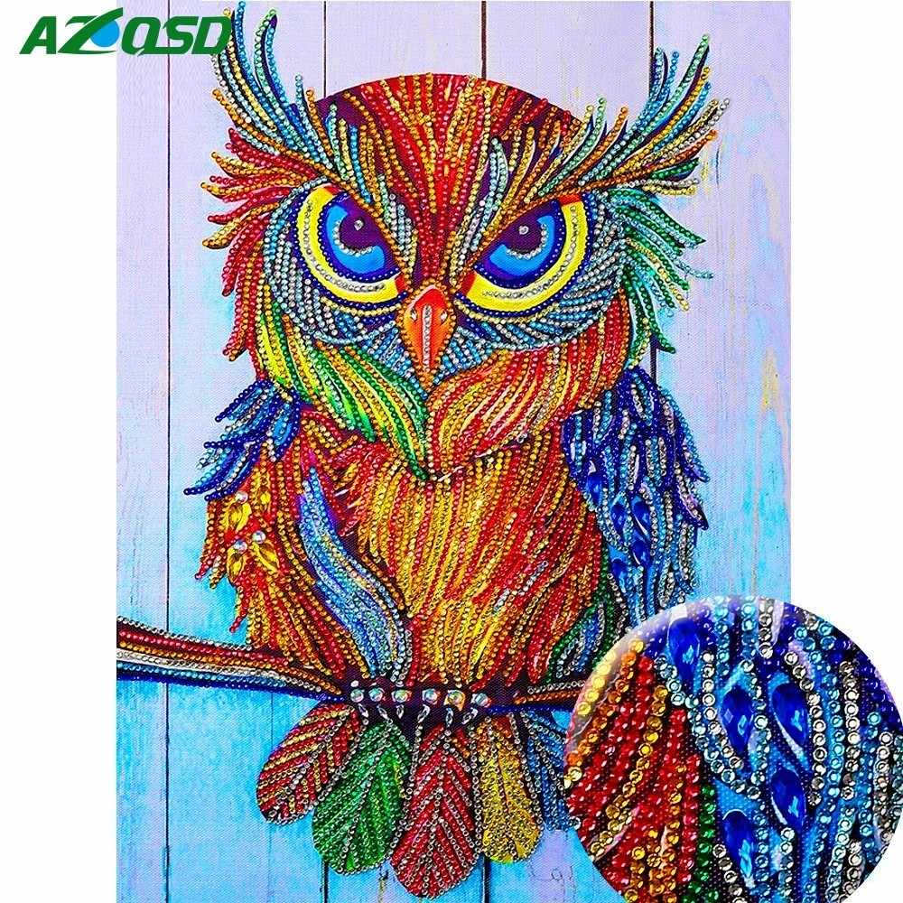 AZQSD Diamond Painting Cross Stitch Animal Picture Of Rhinestones Special Shape Diamond Mosaic Owl Full Kit Home Decor 40x30cm