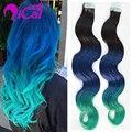Ombre Azul Verde Fita Na Extensão Do Cabelo Humano Da Malásia Cabelo Virgem 100g 40 pc cabelo Onda Do Corpo Trama Da Pele Tape Na Extensão Do Cabelo Humano