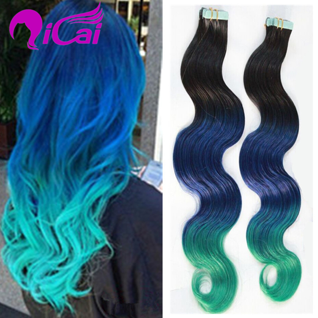Ombre Blue Green Tape In Human Hair Extension Malaysia Virgin Hair