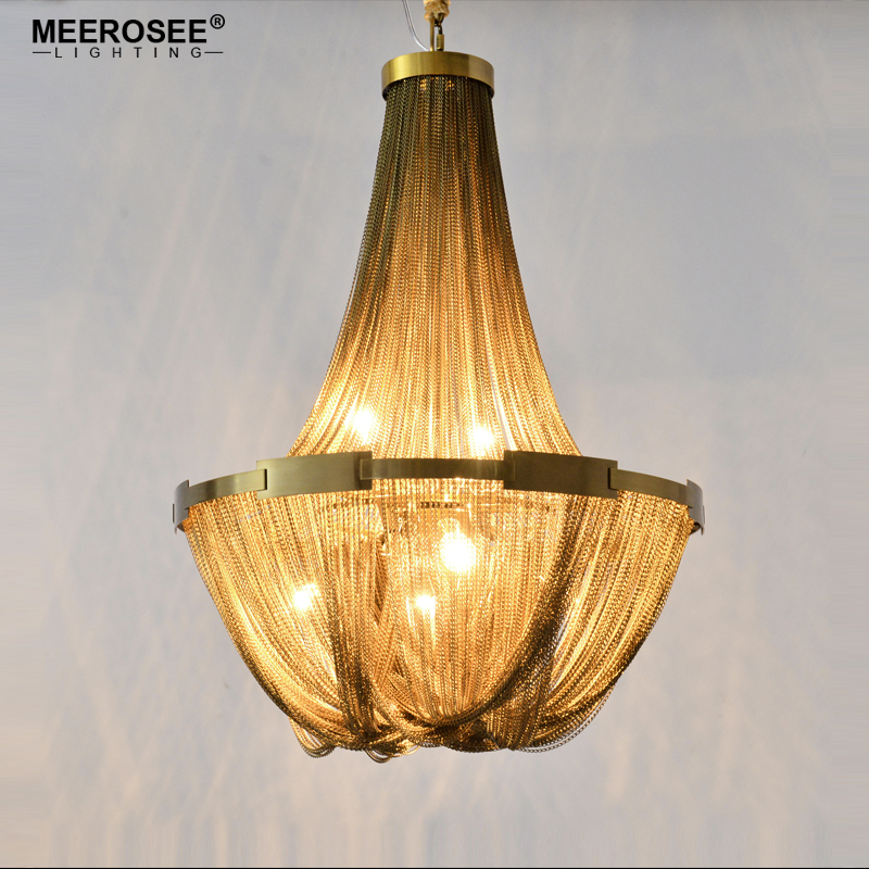 New Arrival Aluminum Chain Chandelier Lighting French Empire Bronze Color Post Chain Illumination Hanging Lamp for room Hotel