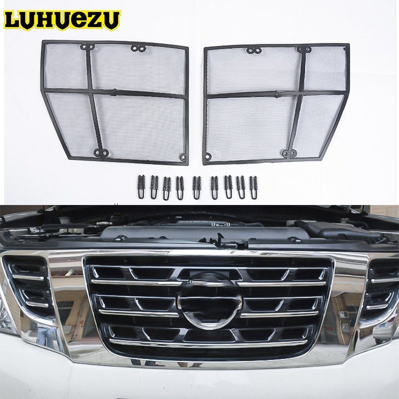 Car Insect Screening Mesh Front Grille Insert Net For Nissan Patrol Armada Y62 2012 2013 2014 2015 2016 2017 2018 Accessories car interior mats for nissan patrol y62 2012 2018 7seats anti duty pads waterproof carpet mats for patrol y62 2017