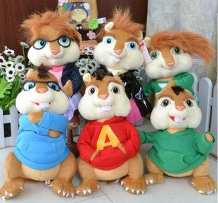 product Toy gift Alvin and the Chipmunks the couple Plush squirrel chipmunk Erwin Simon Theodore 6 styles can be choose free shipping