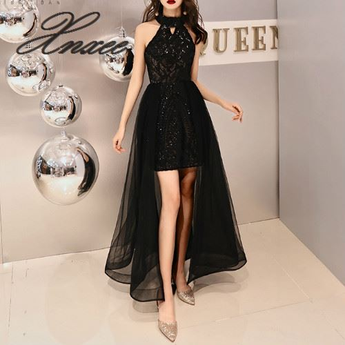 Romantic Tiered Hem Formal Dresses Women Fashion Halter Zipper Long Party Gown