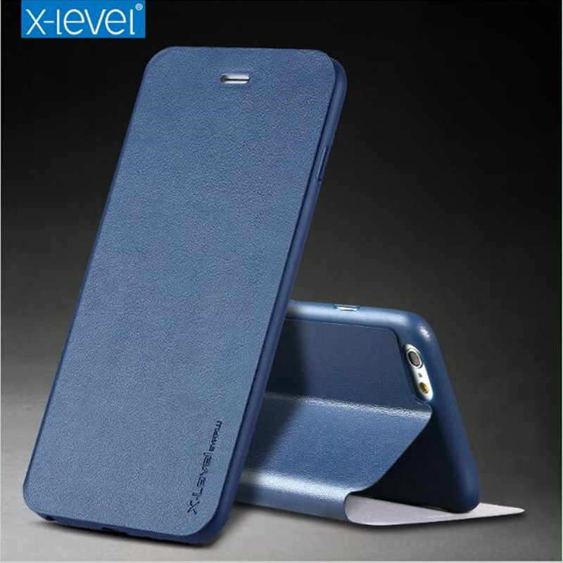 X-Level Ultra Thin Leather Flip Phone Case For iPhone 6 Case iPhone 8 7 Plus Stand Holder Protectiv Cover For iPhone X XS Max XR