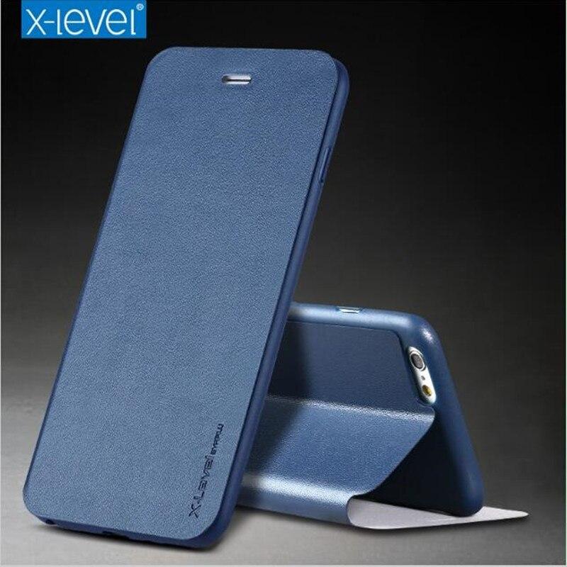 X-Ebene Ultra Dünne Leder TPU Stand Telefon Fall Für iPhone 6 Fall iPhone 8 Schutzhülle Flip Halter Abdeckung für iPhone X iPhone 7 Pl