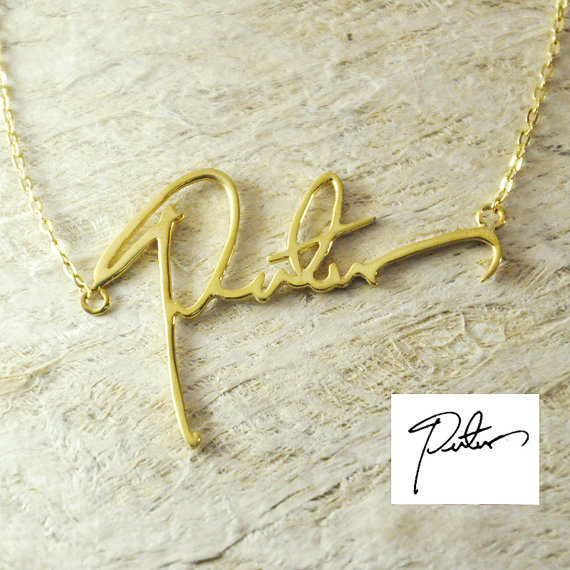 цена на Custom Handwriting Name Necklace Gold/Silver Plated Personalized Signature Necklace A Good Gift Your Style Handwriting Collare