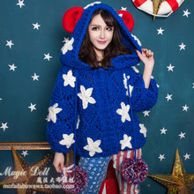 2017 Top Hot Sale Cotton Full Poncho Cardigan Pull Exclusive Custom Sweater Magic Big Doll Sweet Star Hooded Cute Bear Ear Knit