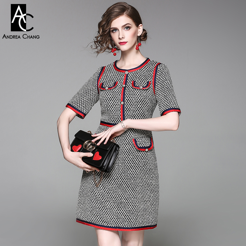 spring autumn woman dress black white plaid pattern knitted dress beading button red blue strip fashion office work brand dress spring autumn woman dress faux pearl rhinestone beading sleeve cuff knitted dress fashion vintage elastic black red party dress