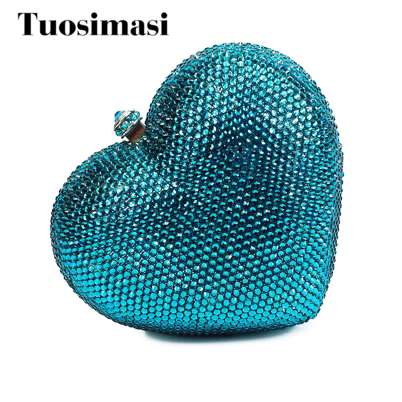 Top Quality Evening Bags 2017 New Heart Shape Crystal Fashion Women Handbags Luxury Ladies Evening Bags And Clutches(B1014-SI) free shipping a15 36 sky blue color fashion top crystal stones ring clutches bags for ladies nice party bag