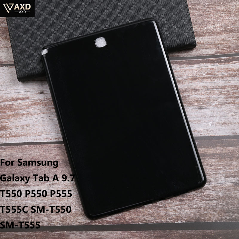 Soft Silicon Tablet <font><b>Case</b></font> For <font><b>Samsung</b></font> <font><b>Galaxy</b></font> <font><b>Tab</b></font> A 9.7 <font><b>T550</b></font> P550 P555 T555C <font><b>SM</b></font>-<font><b>T550</b></font> <font><b>SM</b></font>-T555 Protective Shookproof PC Tablet <font><b>Cover</b></font> image