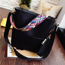 2016 New Sandy bucket handbag with colored fabric bag strap pu leather good quality shoulder bag brand design tote