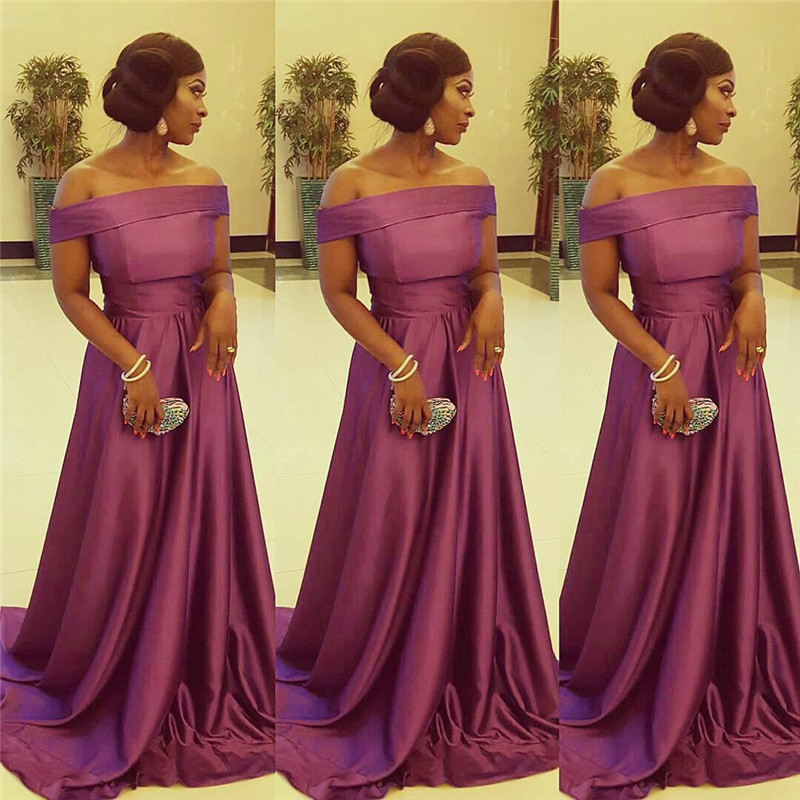 Strapless A-line   Bridesmaid     Dresses   2019 New Elegant Satin Long Party Gowns Cheap Formal Maid Of Honor For Women Plus Size
