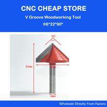 Free Shipping Router CNC Engraving V Groove Bit 6mm x 22mm x 90 Degree