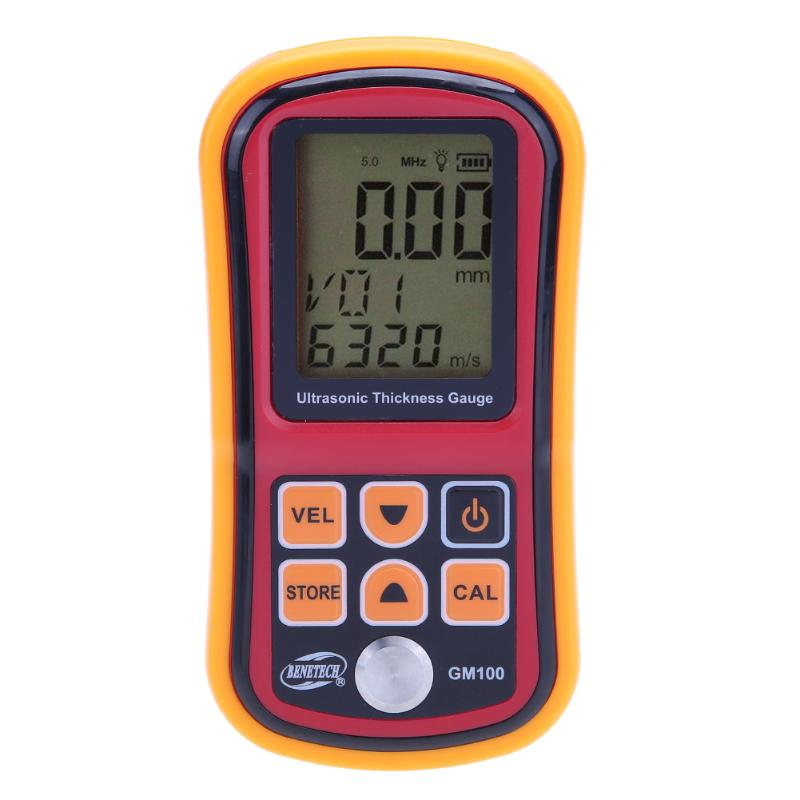 GM100 Ultrasonic Thickness Gauge Meter Handheld LCD Digital Display Metal Thickness Tester Metal Width Measuring Instrument exploit high precision 0 01mm profession digital lcd display thickness gauge meter paper leather fabric thickness tester