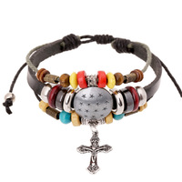 SH-5 Vintage Personality Beaded Cross Pendant Leather Bracelets Fashion Leather Bracelets Summer Gifts For Friends Unisex