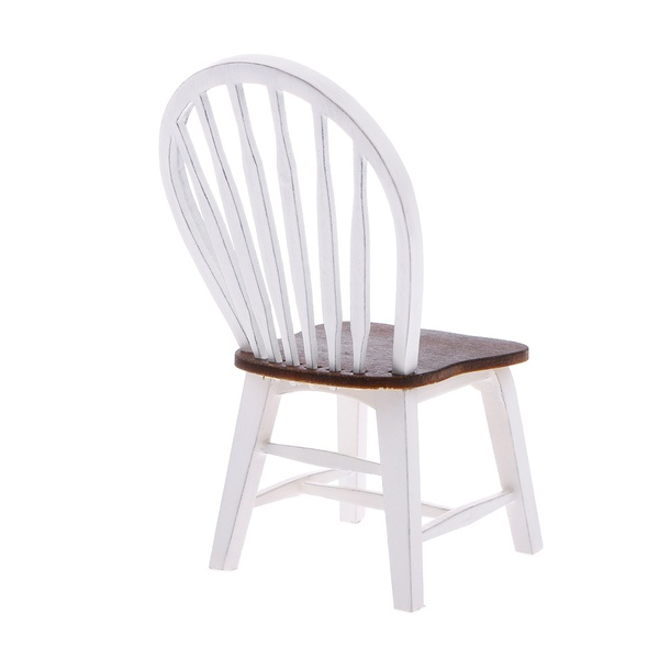NEW Dollhouse Miniature Kitchen Dining Room Furniture White Wooden Side Chair with Slat Back 1:12 Scale (Color: White)