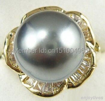 Envío Gratis> anillo de flor de piedra amarilla perla gris tamaño 7.8.9
