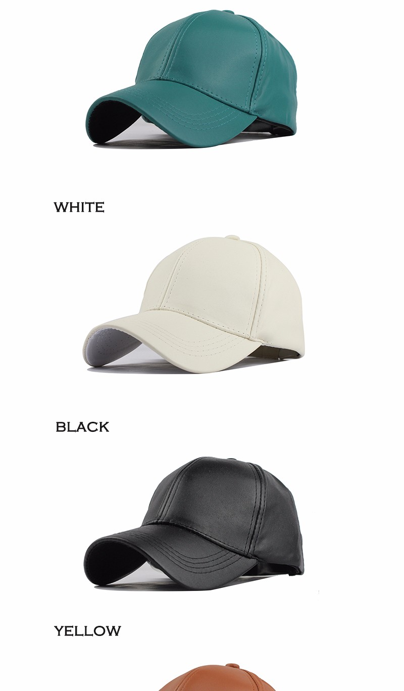 FETSBUY New High Quality Leather Cap Biker Trucker Caps PU Solid Color HIP HOP Snapback Baseball Cap Fitted Adjustable Hat 2017 10
