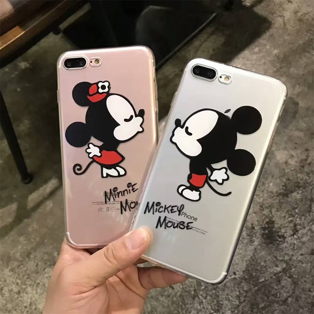 65003a3290 DTFQ Cute Cartoon Couple Phone Case Micky & Minnie Lovely Soft TPU Clear  Transparent Cover Skin for iPhone 7 7 Plus 6s 6 8 X
