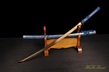 Hand Forged Sword Japanese Samurai Folded Steel  Blue Saya Katana Golding Blade Great Gift