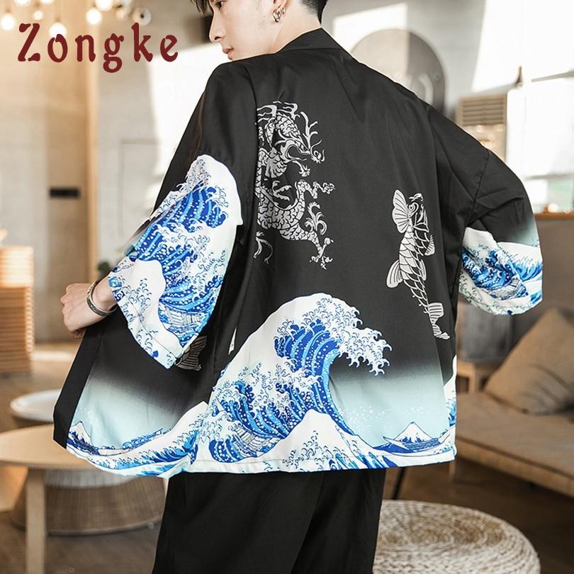 Zongke Waves Black Kimono Men Japanese Kimono Cardigan Harajuku Kimono Shirt Men Streetwear Hawaiian Shirt Men 5XL 2019 New