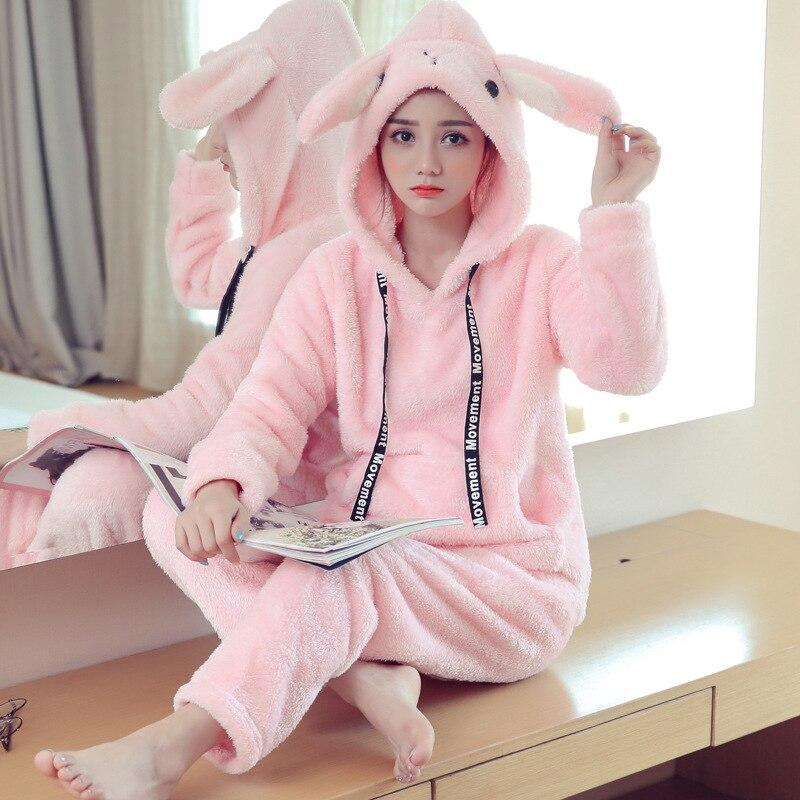 Korean Women's Winter   Pajamas     Sets   Flannel Cartoon Cute Casual Velvet Thick Warm   Pajamas   Fashion Coral Fleece Home Sleep Suit