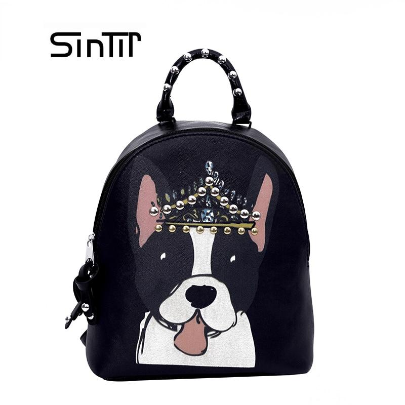 SINTIR Для женщин смешная собака милые рюкзаки детские для девочек школьная сумка Студенческие женские PU кожаные модные Mochila сумки на плечо