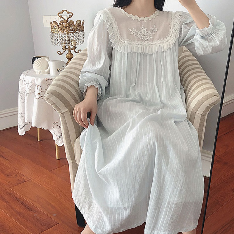 White Lace Cotton  Women's Vintage Long Nightgowns Autumn Sleepwear Elegant Female Night Dress Home Wear 2219