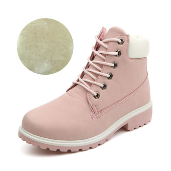 2020 Hot New Autumn Early Winter Shoes Women Flat Heel Boots Fashion Keep warm Women's Boots Brand Woman Ankle Botas Camouflage - pink Plush, 36
