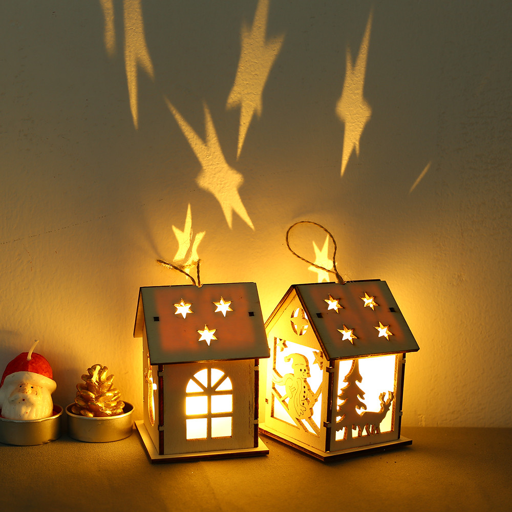 Christmas In Heaven Lantern Diy.Us 1 71 49 Off Christmas Diy Wooden Pendant Ornaments Led Light Wooden Dolls House Villa Christmas Ornaments Xmas Tree Hanging Decor House New In