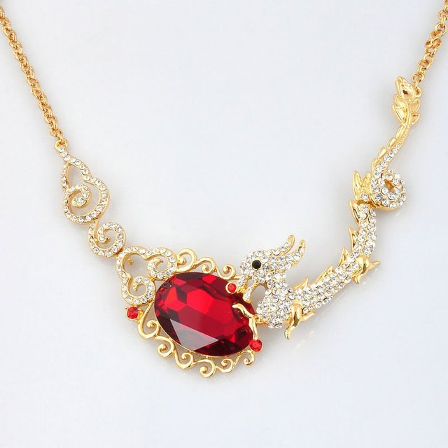 Wholesale /Retail New Crystals High Quality Red Zircong Dragon Necklace Pendant Free shipping