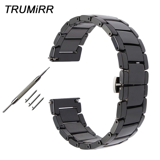 22mm Quick Release Ceramic Watch Band for Samsung Gear S3 Classic Frontier Steel