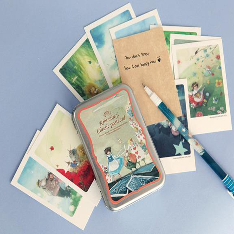 40 Pcs/set Alice Tin Box Greeting Cards Set Mini Retro Postcards European Classical Style Cards & Invitations Business Cards(China)