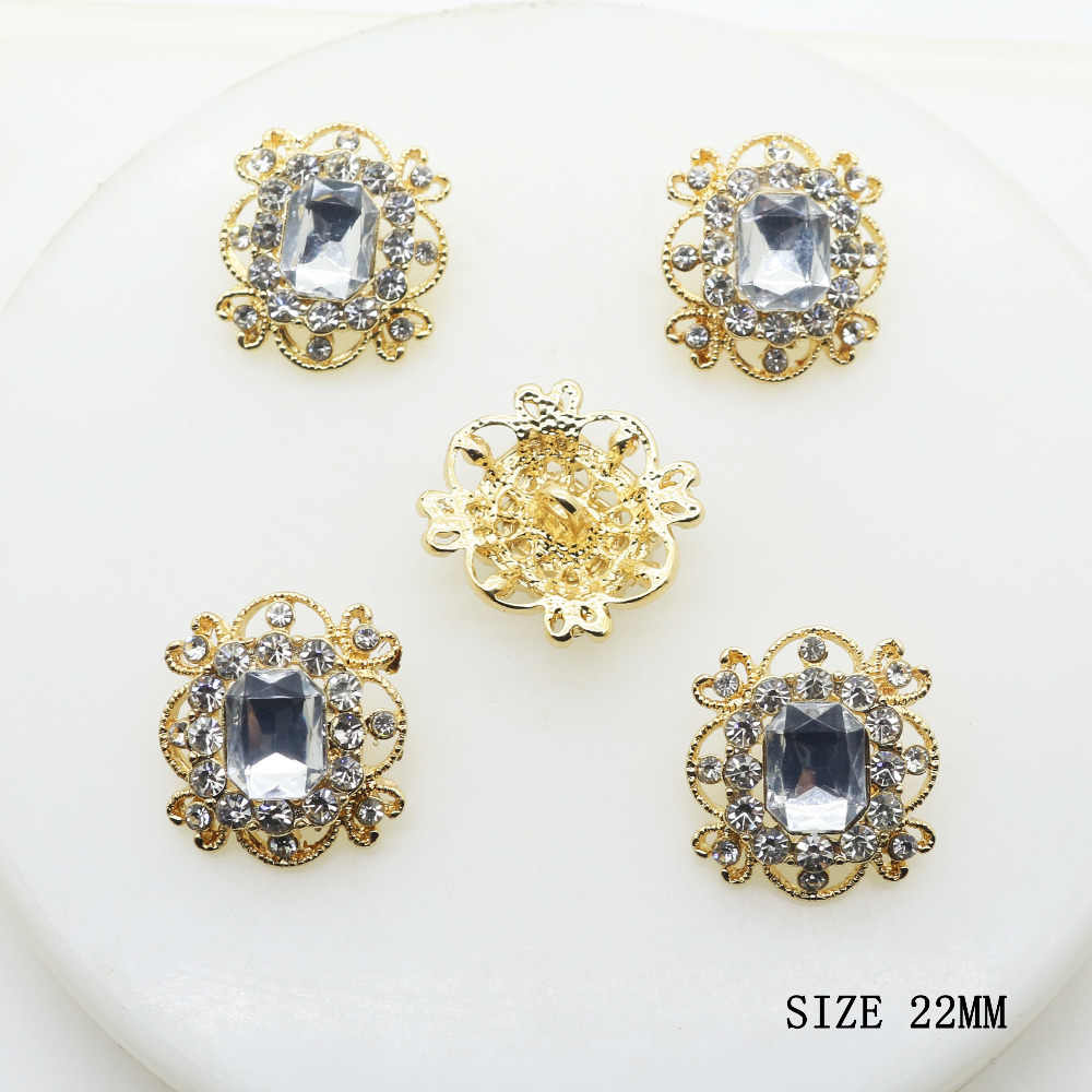 ZMASEY Alloy Shank Buttons 10pcs set Gold 22mm Sewing Accessories wedding  decoration Diy Buckles Diamante 8500ba9da940