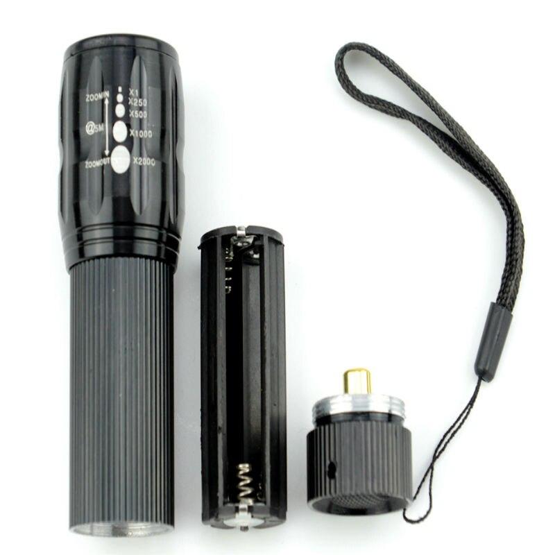 90% OFF NEW High-quality CREE Q5 2000 Lumens Lanterna Waterproof Mini Black LED Flashlight 3 Modes Zoomable Tactical Torch Light q5 flashlight tactical 2000lm lanterna torch penlight 3 modes zoomable linterna led diving flash light 1w high power