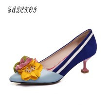 Women's PU Leather high Heels Pointed Toe Kitten Heels Gorgeous Pumps Party Stiletto Shoes Slip On Ladies Wedding Shoes pu pointed toe flats with eyelet strap
