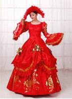 Hoàng hậu Marie Antoinette Lấy Cảm Hứng Từ Masquerade Bóng Gown Bridal Váy Công Chúa Cuộc Thi Dress RED