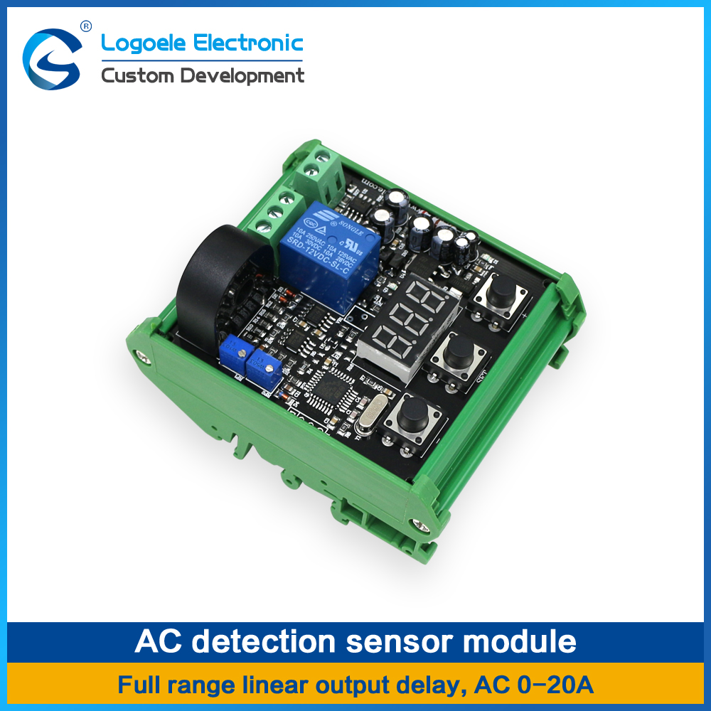High quality AC 0-20A Current Sensor module Switch output Full range of linear output delay, relay output. Free shipping dc 12v digital temperature display module sensor relay switch control 20 100 centigrade g205m best quality