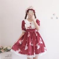 Kawaii Japanese daily vestido Lolita dress women summer soft girl wind cute print tie vintage short sleeve Lolita skirt cute