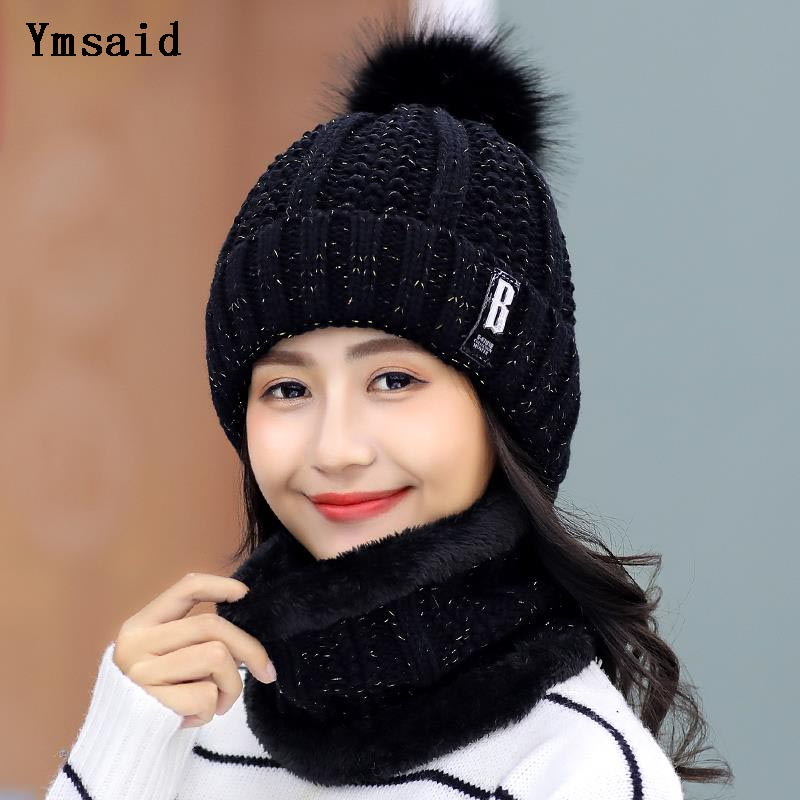 High Quality Ski Cap 2018 New Brand Wool Fur Lining Ball Cap Pompom Winter Hat For Women Girls Warm Knitted Scarf Hat(China)