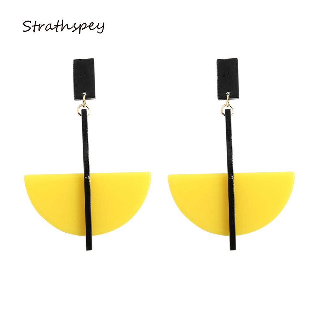 STRATHSPEY Geometric Hanging Earrings Fashion Jewelry Female Acrylic Half Cirlce Long Summer Pendant Drop Earring Yellow Gift