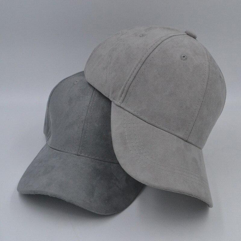 autumn faux suede curved brim   baseball     cap   plain snapback dad hat men women, gray blue beige pink