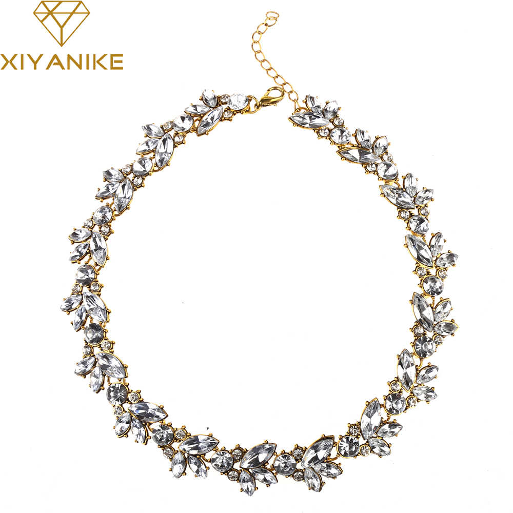 New Design hot sale Charm Crystal Bib choker Necklace rhinestone gem flower Bar Necklace Statement Jewelry for women N557