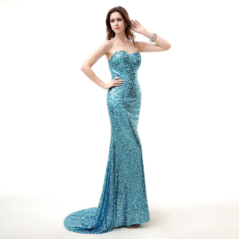 Blue Sequin Evening Dress Long 2018 Mermaid Strapless Sleeveless Crystal  Lace Women Formal Prom Evening Gown Plus Size 294f9b4fdd1c