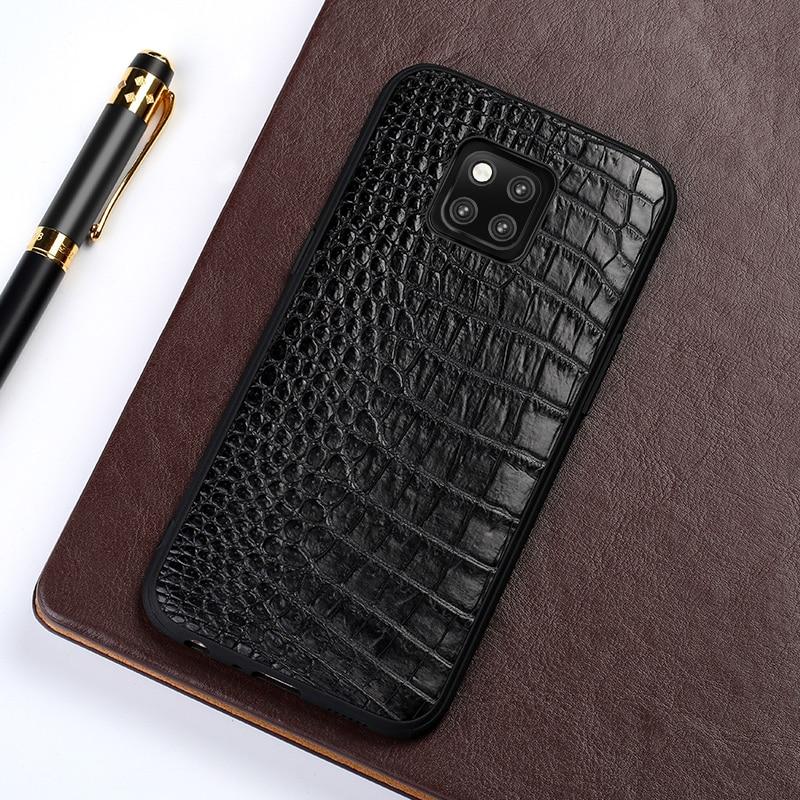 Téléphone étui pour huawei Mate 20 9 10 Pro P10 P20 Lite D'origine peau de Crocodile Pour L'honneur 8X Max 9 10 Couverture Arrière capa