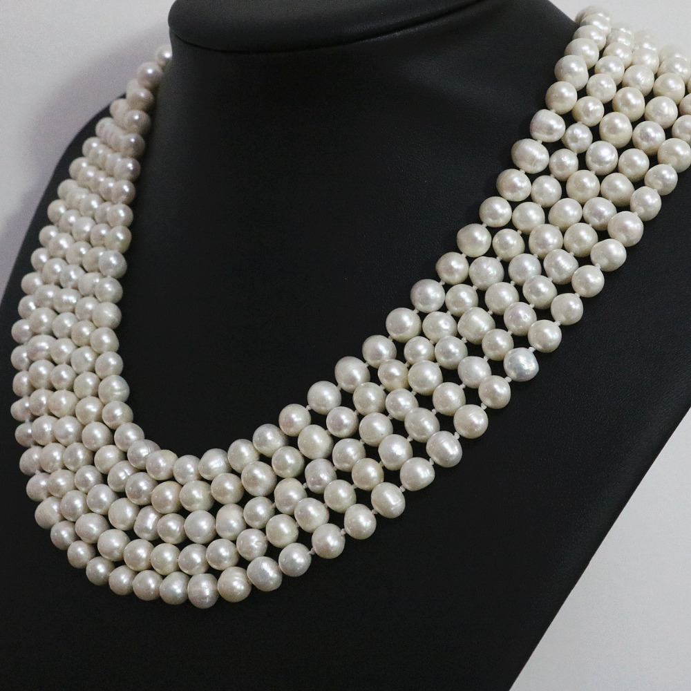 Special white natural pearl round beads 7 8 8 9mm long chain necklace fashion jewelry 100inch