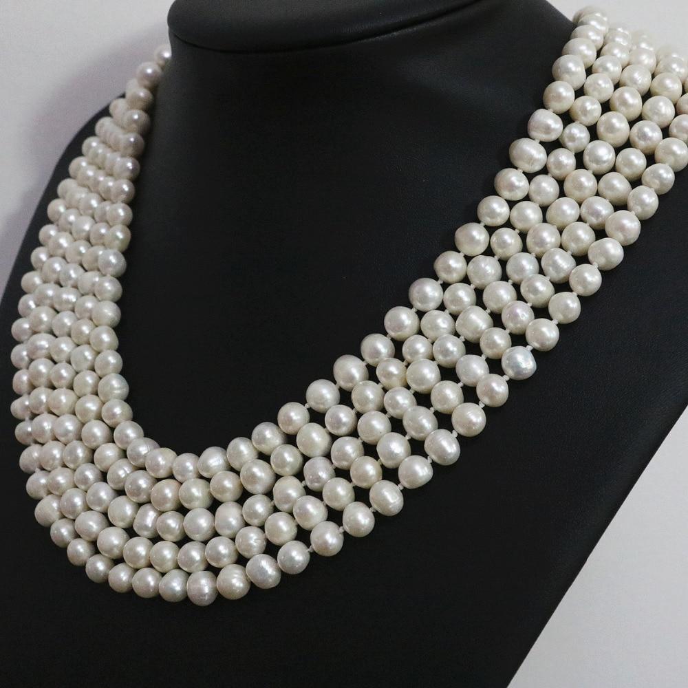 Perles rondes en perles naturelles blanches spéciales 7-8,8-9mm long collier de mode bijoux 100 pouces B1463