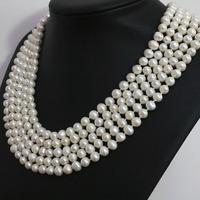 Special white natural pearl round beads 7 8,8 9mm long chain necklace fashion jewelry 100inch B1463