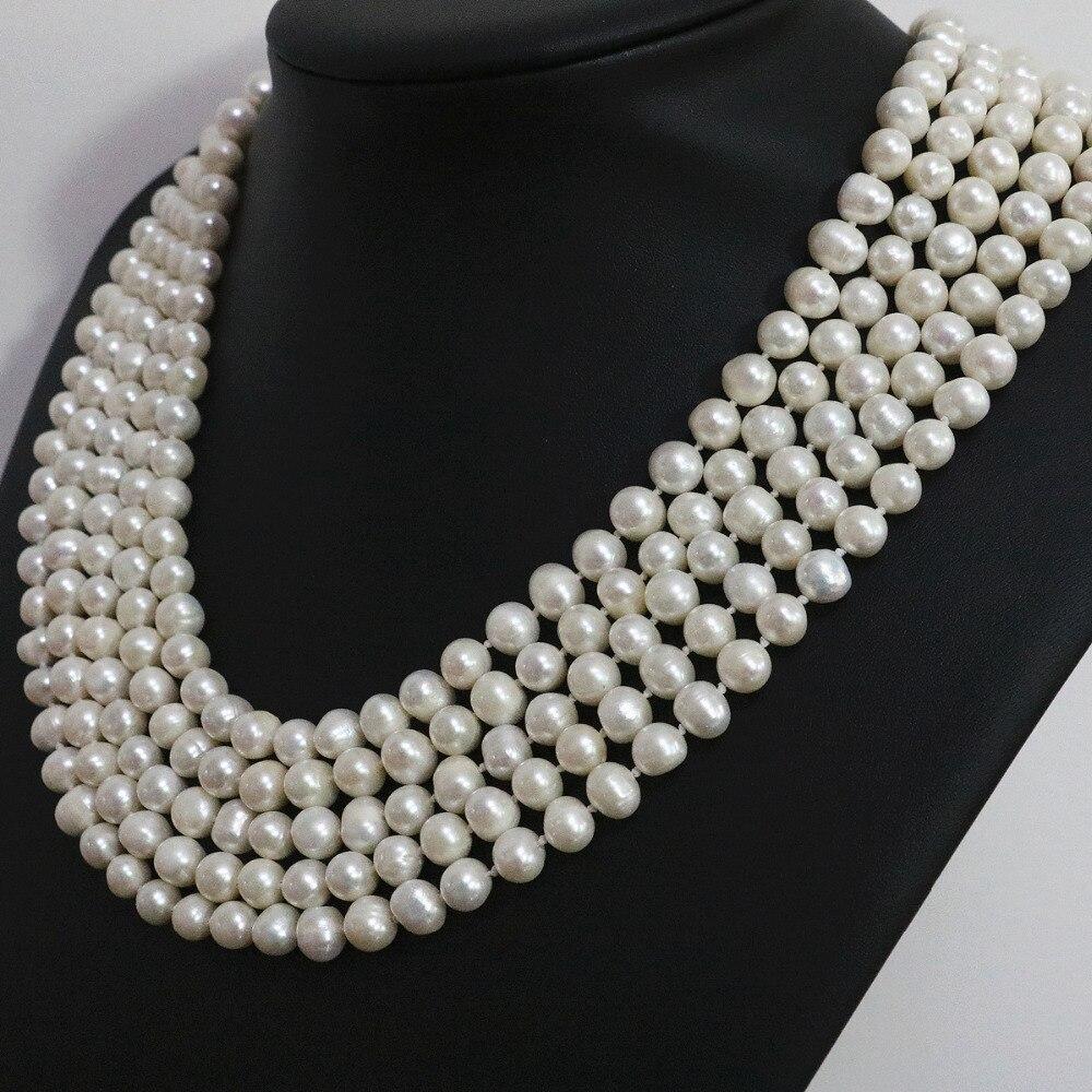 Specjalne białe naturalne perły okrągłe koraliki 7 8,8 9mm długi łańcuch naszyjnik moda biżuteria 100 cal B1463 w Naszyjniki łańcuszkowe od Biżuteria i akcesoria na  Grupa 1