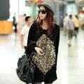 2016 nova mulheres grande plus size roupas batwing manga paillette vintage senhora túnica vestidos M ~ 3xl, 4xl, 5XL preto